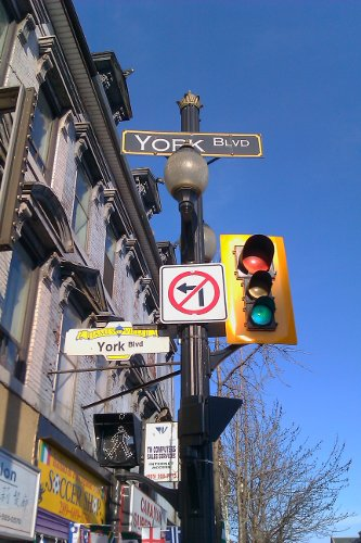 No left turn from James onto York