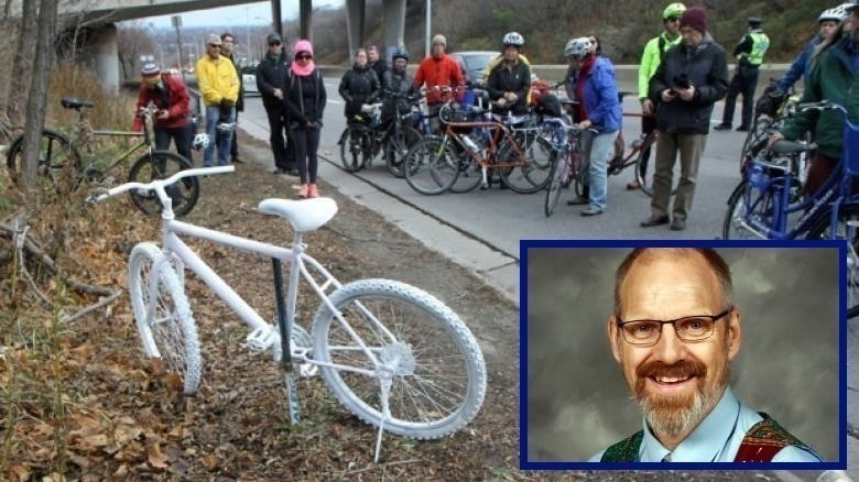 Ghost bike commemorating Jay Keddy