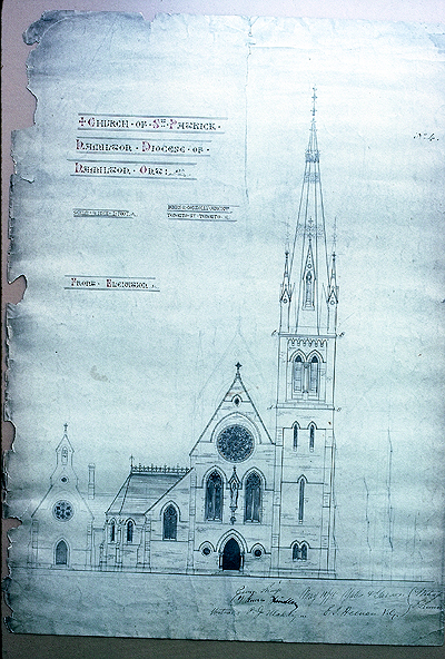 Fig. 4. Hamilton, St Patrick's Roman Catholic Church, façade, presentation drawing.