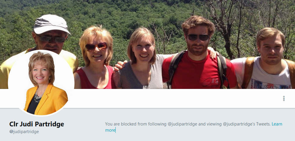 Blocked from Councillor Judi Partridge's twitter feed