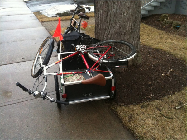 Bike carried on bike trailer