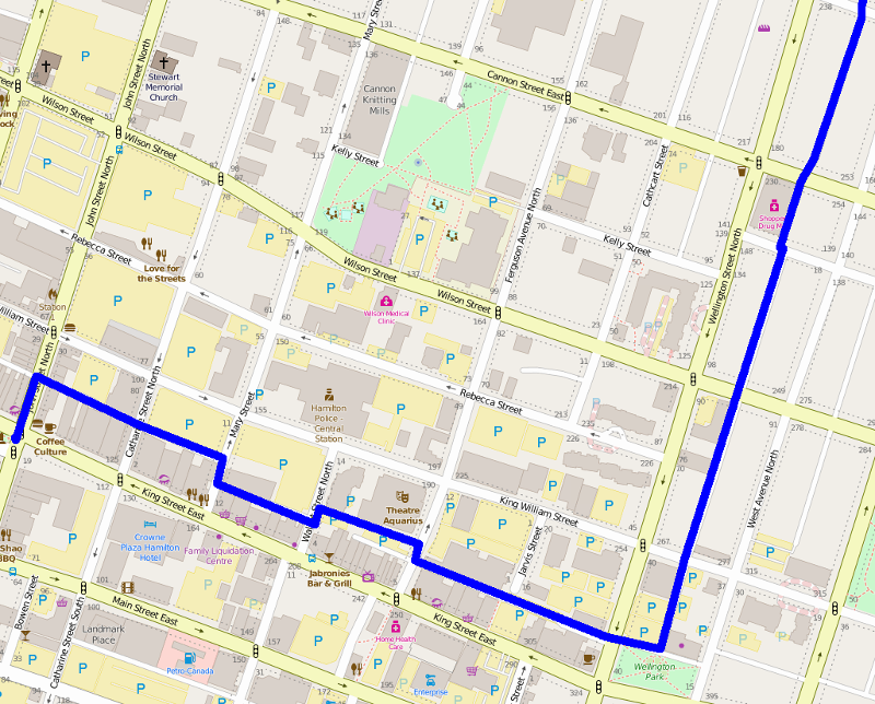 Part of the alleyway route from Gore Park to Hamilton General Hospital (Route overlaid on OpenStreetMap)
