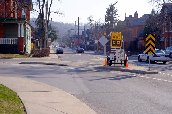 Mobile speed radar at Herkimer and Queen (Image Credit: Kirkdendall Neighbourhood Association)