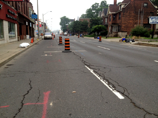 King Street East between Steven and Ashley, reduced to two lanes