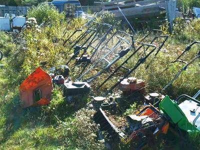 A lawnmower graveyard - in a more perfect world, lawnmower disposal would be a more lucrative business than lawnmower manufacturing. (Image Credit: Flickr)