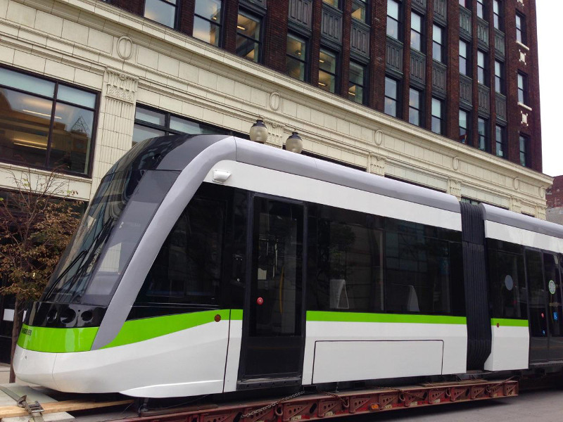 LRT vehicle on display on James Street North in front of Lister Block (Image Credit: Jason Leach)