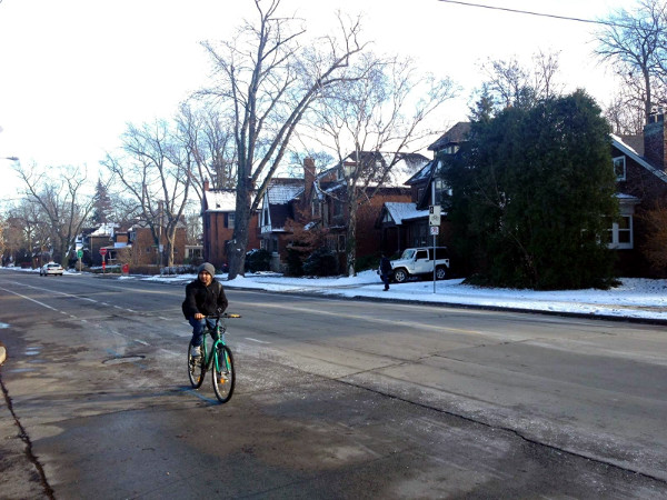 A cyclist riding on Sterling