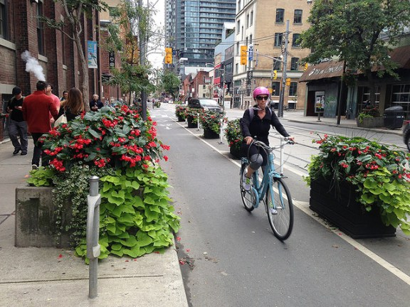 Planter-protected bike lane in Toronto