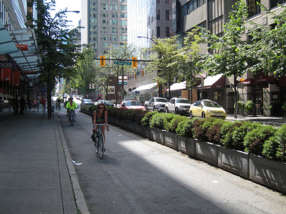 Planter-protected bike lane in Vancouver