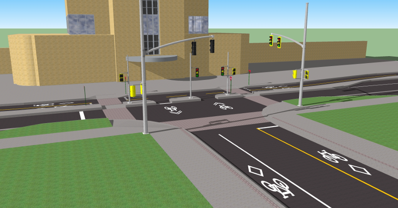 Rendering of Hunter Street bike lanes at GO Station
