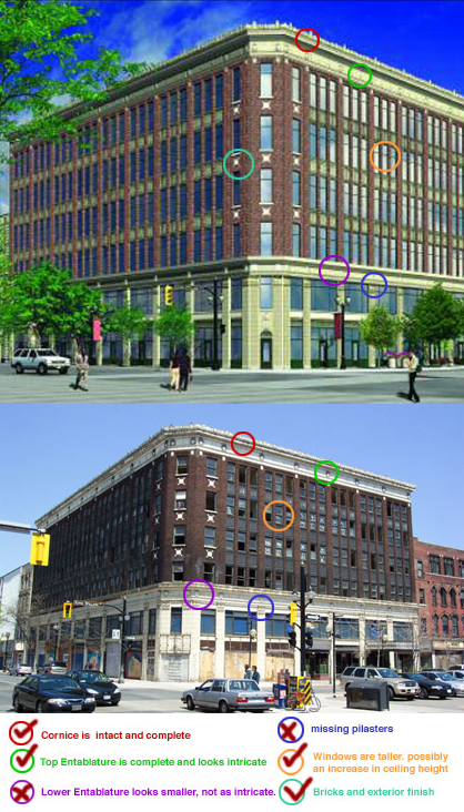 The current and proposed Lister Block buildings, compared by detail