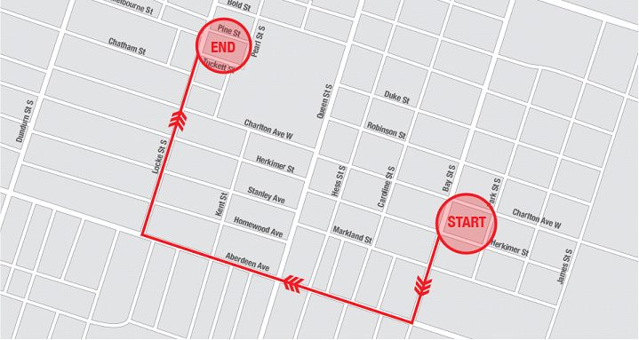 Map: Route of Locke Street riot (Image Credit: Hamilton Police)