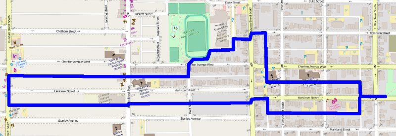 Route of Jane's Ride (Image Credit: OpenStreetMaps)