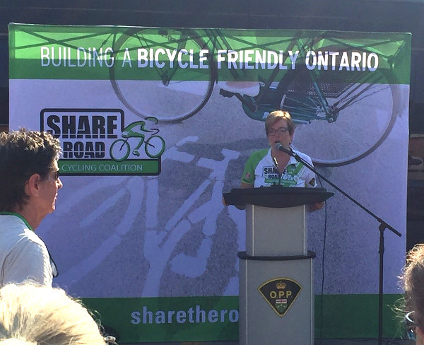 Minister Eleanor McMahon addressing Greg's Ride participants
