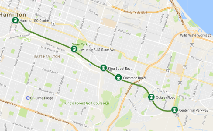 Map of line and proposed stations (Image Credit: Google Maps)
