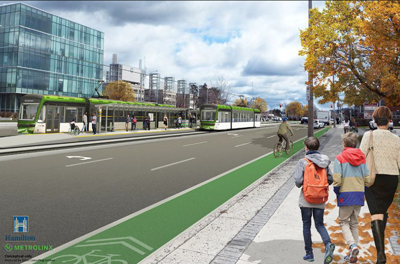 LRT alignment rendering at McMaster University