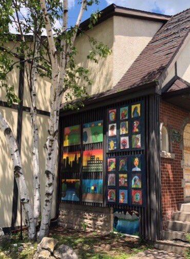 Community art installed on a property bought by Metrolinx for LRT near Longwood Road