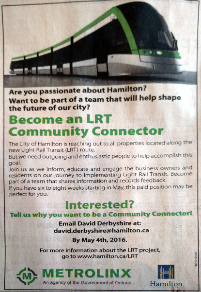 Print ad for the LRT Community Connector position