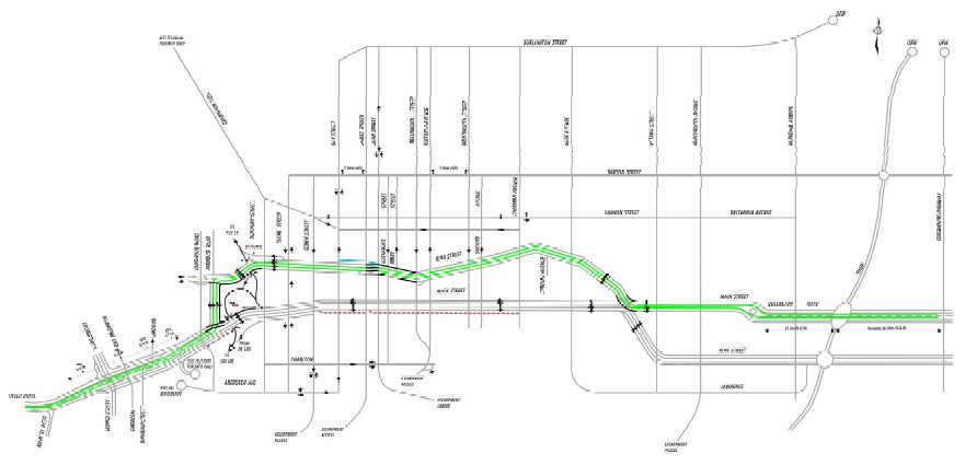 LRT Preferred Route: two-way conversion of Main and King with two-way LRT down the median of King through the downtown.