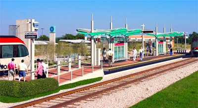 LRT Station in suburban Austin