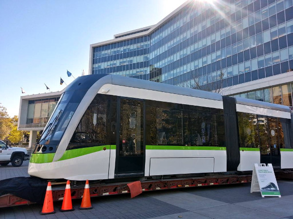 LRT vehicle on display at City Hall last year (RTH file photo)