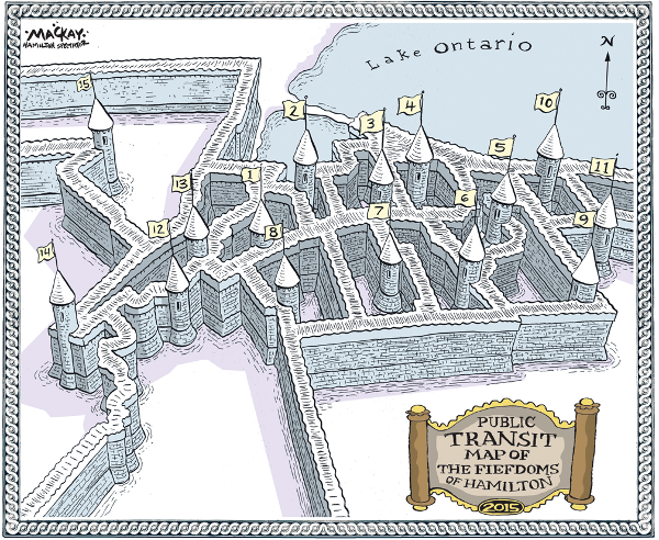 Public Transit Map of the Fiefdoms of Hamilton, 2015 (Image Credit: Graeme MacKay)
