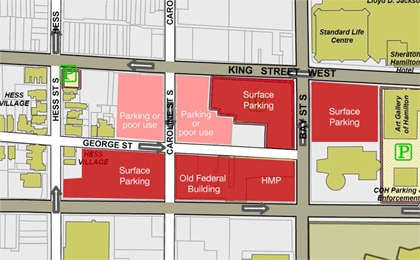 The block bordered by Main St., Bay St., King St., and Hess St. has plenty of room for