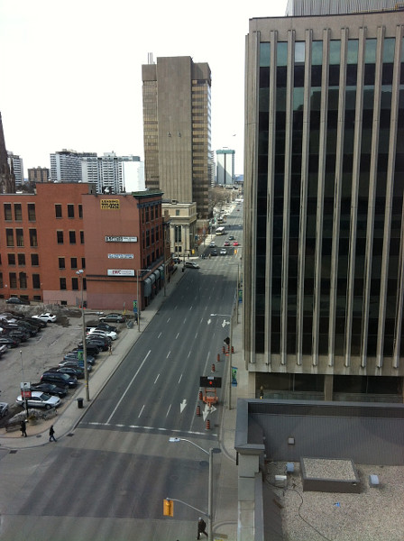 Main Street, view from John Sopinka Courthouse at 1:30 PM on a weekday (RTH file photo)