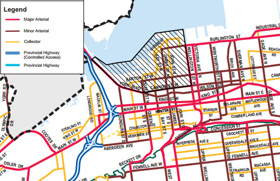 Map detail with superimposed legend from Appendix 11 of the Urban Hamilton Official Plan