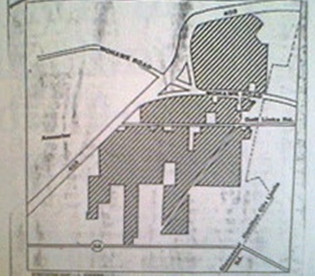 Map: Allarco's land holdings in Ancaster in 1980. (Image Credit: Hamilton Spectator map, L. Cooper, 1980)