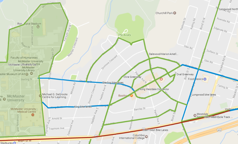 Proposed Westdale cycling facilities (Image Credit: Google Maps)