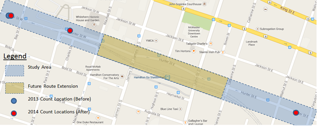 Map of bike traffic count locations on Hunter Street (Image Credit: City of Hamilton)