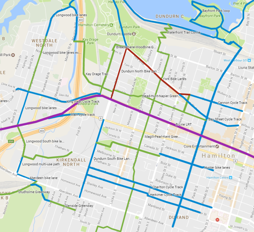 Map: Proposed Cycling Improvements in Strathcona (Image Credit: Google Maps)
