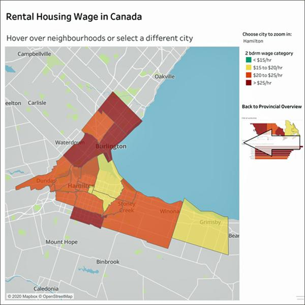 The rental wage. This map shows the wage required to rent a two bedroom apartment in the various neighbourhoods at a housing occupancy cost of 30% of gross income. (Source: policyalternatives.ca/rentalwages)