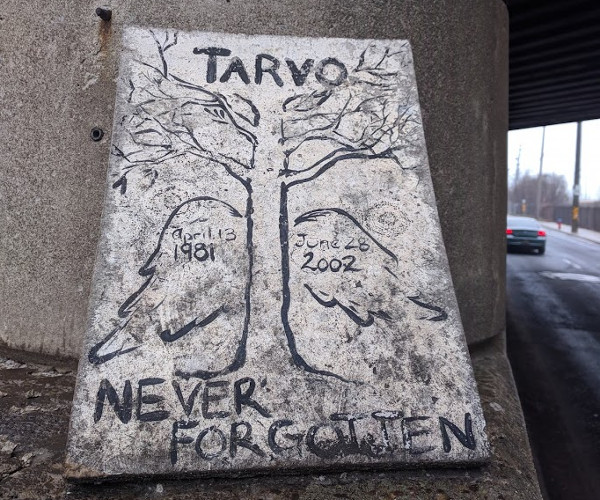 Memorial for Tarvo Hess on Aberdeen at CP Rail overpass