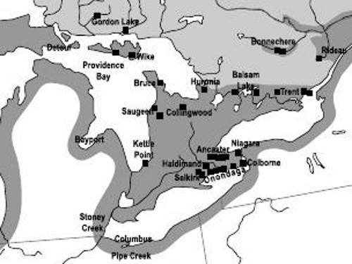 Figure 4. Part of a map showing the sources of chert used for aboriginal tools. Note the sites south of Ancaster and along the northeastern shore of Lake Erie. From Fox.