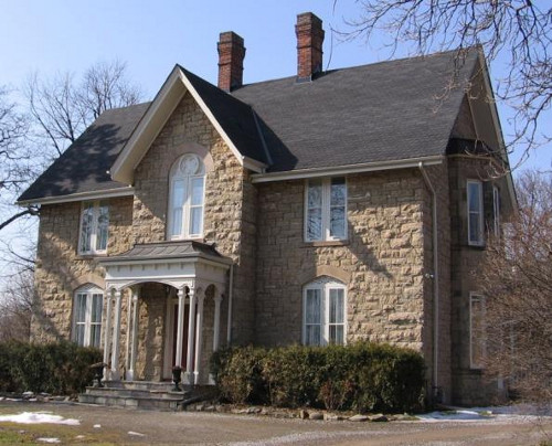 Figure 8. This house, Glenhead on Scenic Drive, built in the late 19th century, Hamilton Mountain, is perhaps the best example of the use of Ancaster chert beds, quarried only a few yards away.