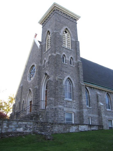 Figure 13. St Paul's Church, Fort Erie. Built of much the same stone as the (reconstructed) fort. There are also a course and trim (windows, doors, buttress caps) of