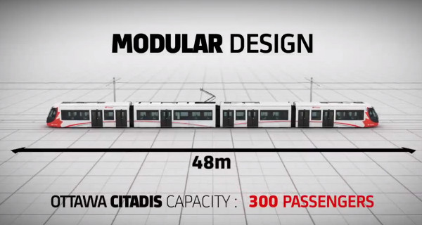 Alstom's promotional video image of Ottawa's Citadis Spirit LRV (Image Credit: Alstom)
