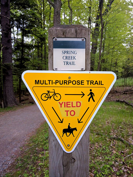 Multi-purpose yield sign on Spring Creek Trail, Dundas Valley