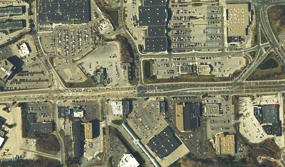 Satellite view of Natick's commercial zone (Image Credit: Google Maps)
