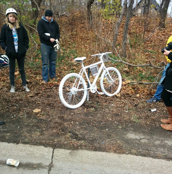 Ghost bike on Claremont Access as a memorial to Jay Keddy, who was killed on December 2, 2015 (RTH file photo)