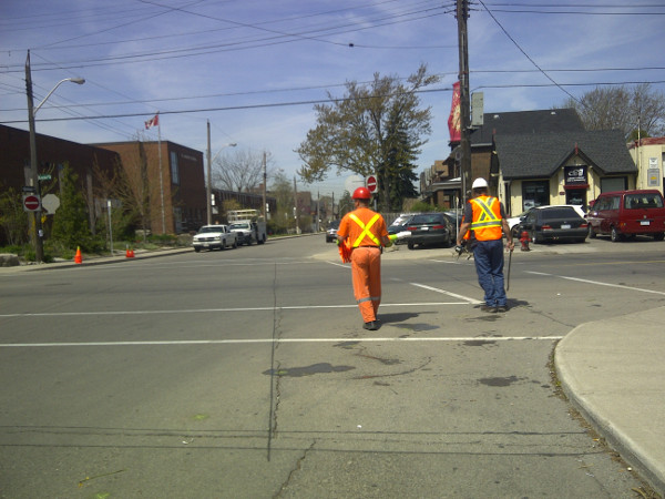 City workers remove guerilla bumpouts at Locke and Herkimer (Image Credit: Jeffrey Neven)