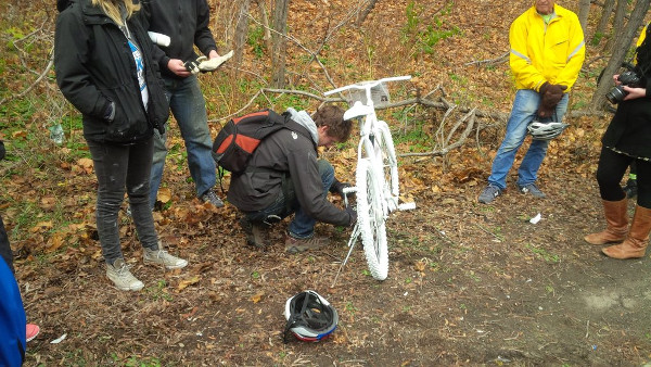 'Ghost bike' memorial placed where Jay Keddy was killed on the Claremont Access (RTH file photo)
