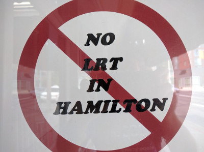 'No Hamilton LRT' with a red circle and diagonal line around it - so, Yes Hamilton LRT?
