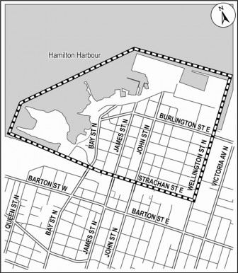 Official North End neighbourhood boundary (City of Hamilton graphic)