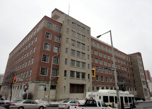 Pre-demolition: Revenue Canada Building at Main and Caroline (RTH file photo)