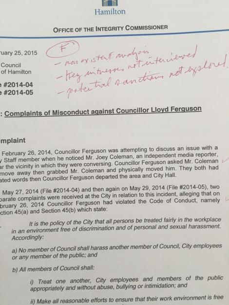Ontario Ombudsman Andre Marin's notes on Earl Basse's report into the Ferguson-Coleman incident