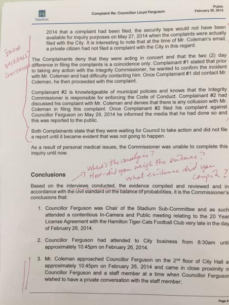 Andre Marin's notes on Basse's report, page 4 of 5