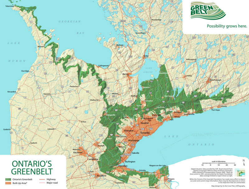 Ontario Greenbelt map (Image Credit: Friends of the Greenbelt Foundation)